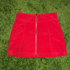 Red Zip Up Skirt